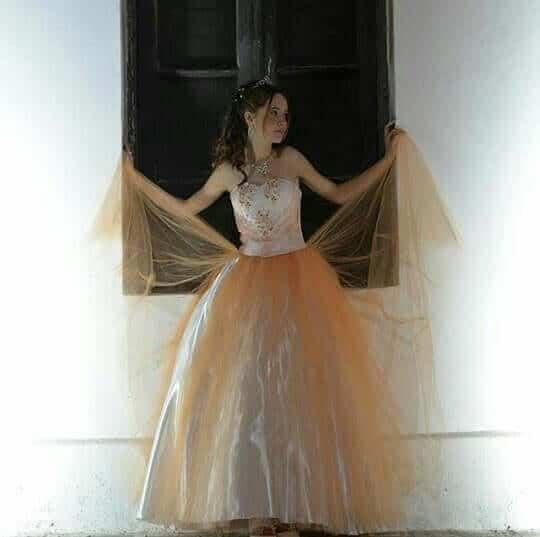 vestidos para 15 anos corte princesa dorado