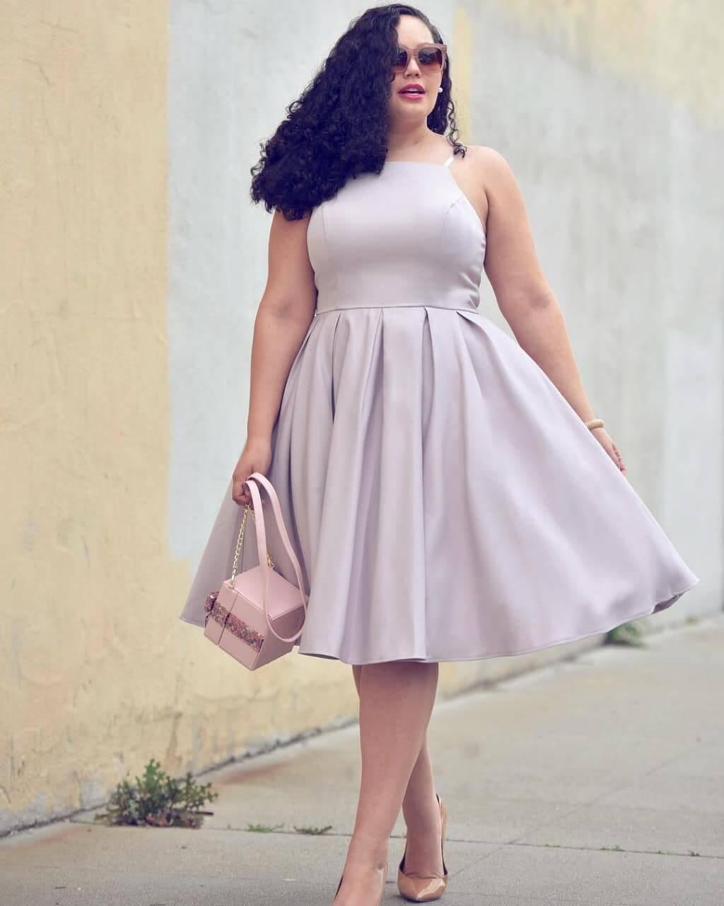 vestido de fiesta corto para gordita corte campana