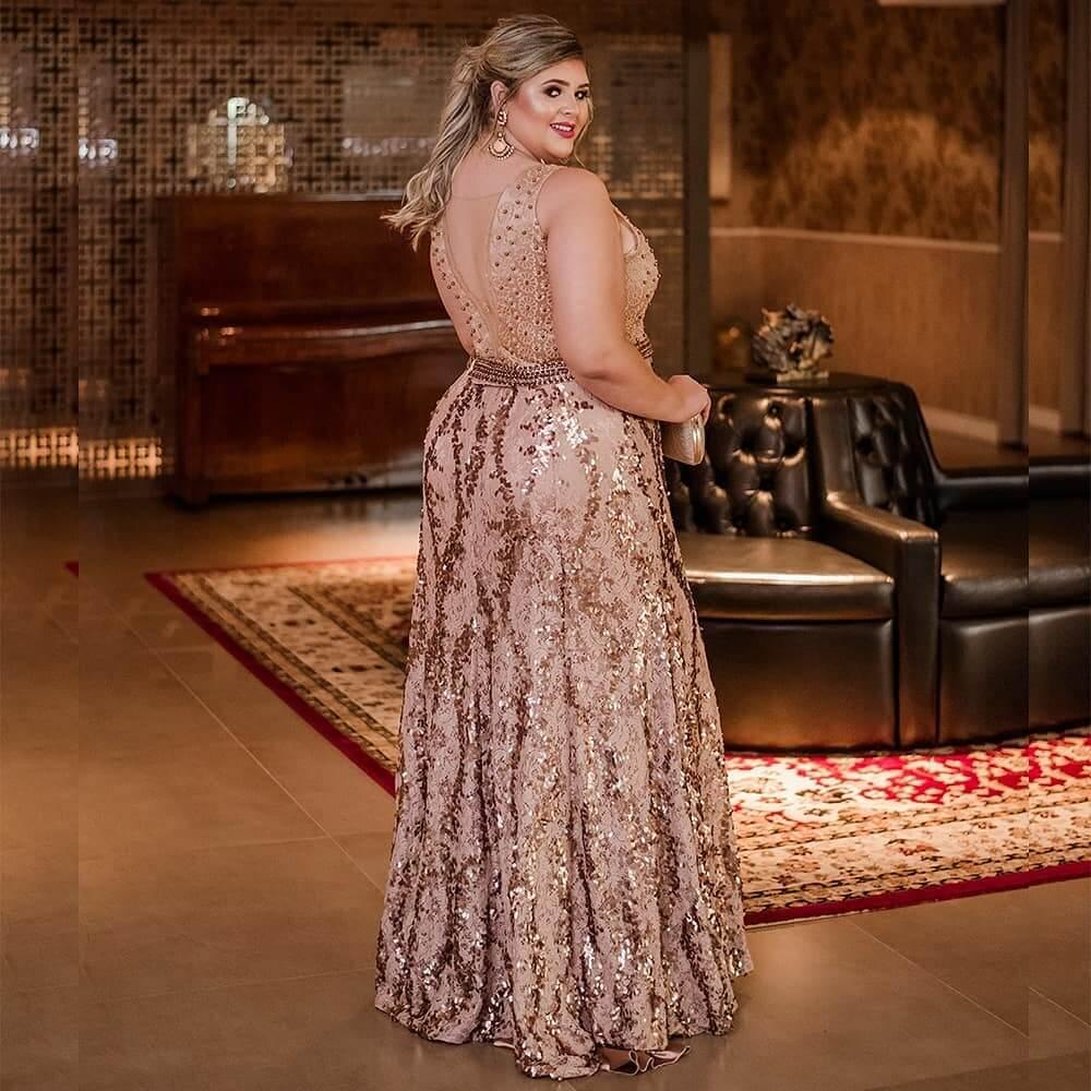 vestido de fiesta largo dorado para gorditas