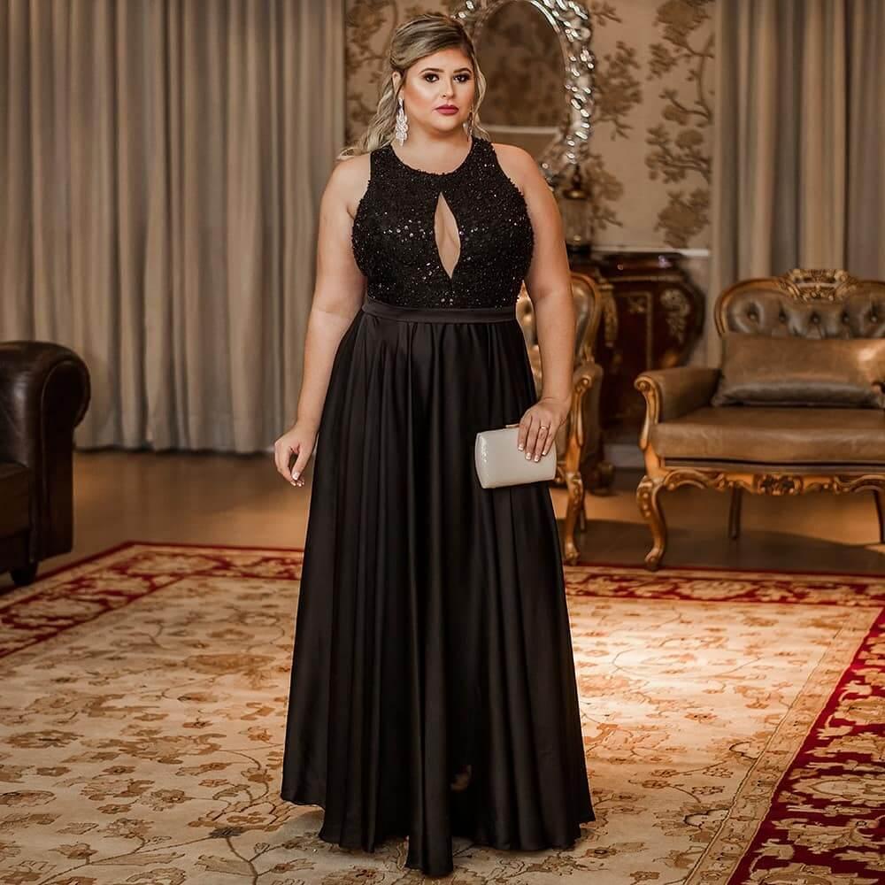 vestido de fiesta largo negro para gorditas