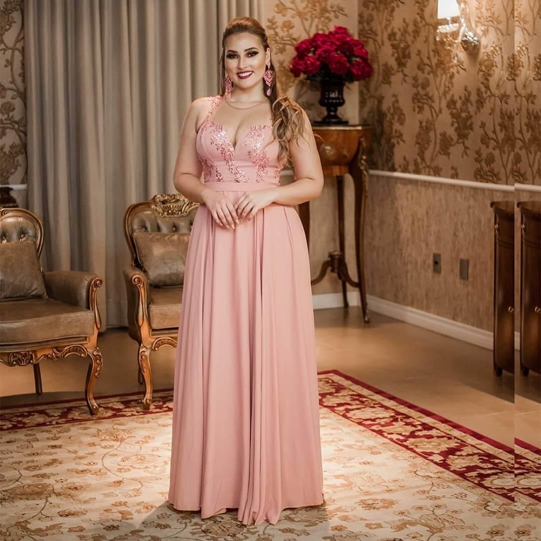 vestido de fiesta rosa palo para gorditas