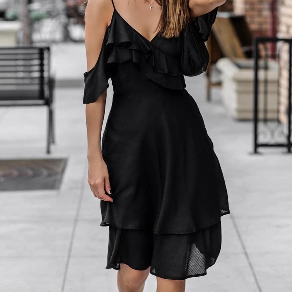 vestidos de fiesta negros 3/4, tres cuartos o a la rodilla