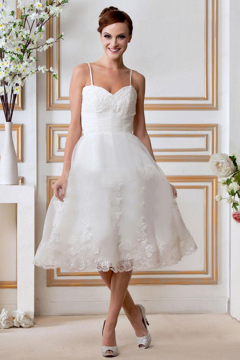 vestidos de novia 2018 corto a la rodilla