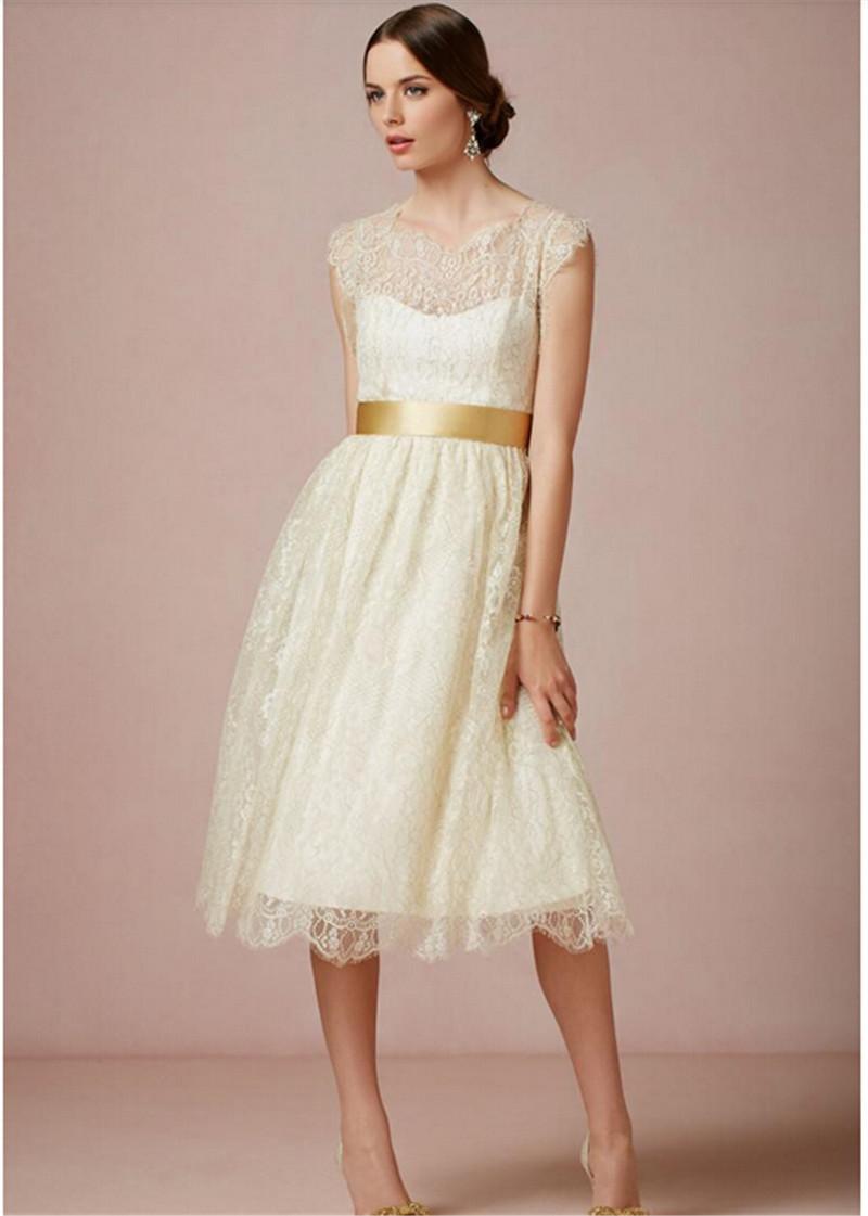 vestido de novia corto con cinturon