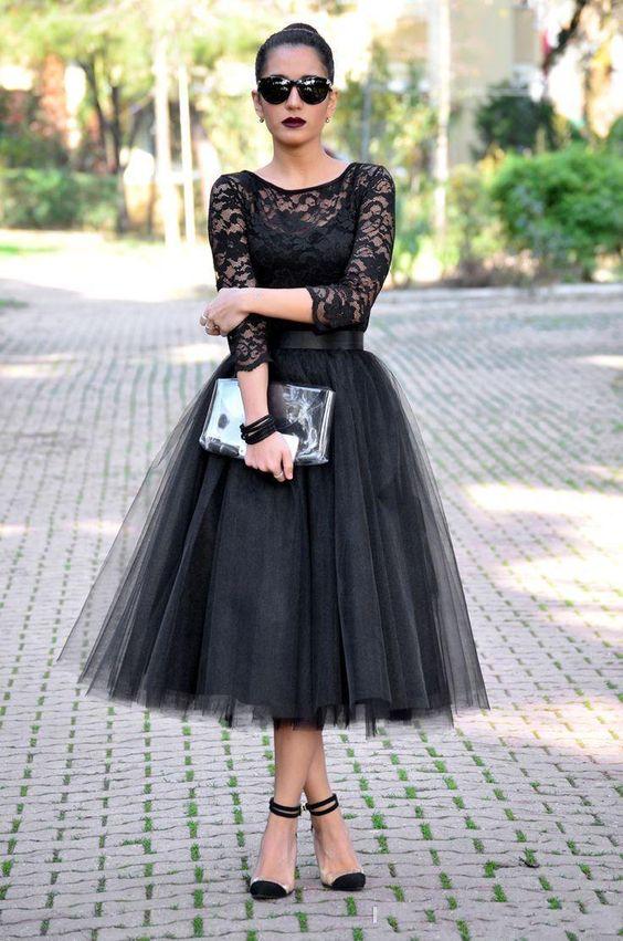 vestidos fiesta negros tres cuarto