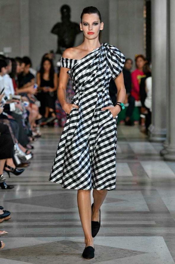 one-shoulder_gingham_taffeta_draped_midi_dress