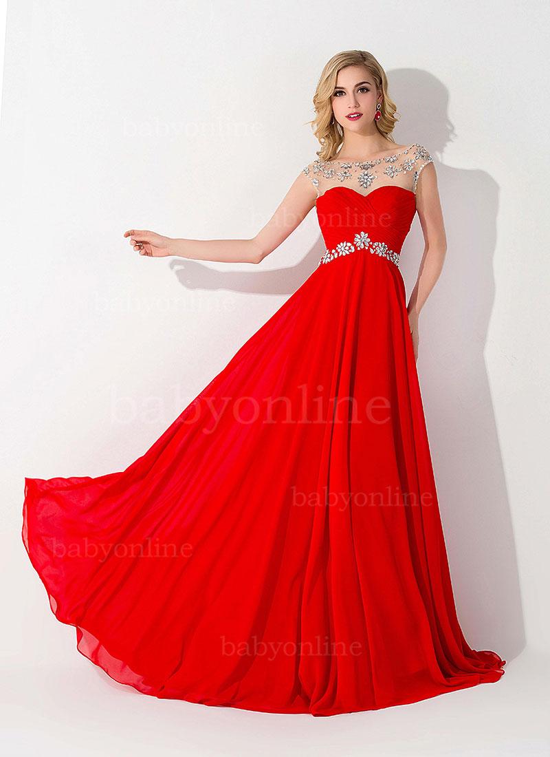 Vestidos de fiesta de noche color rojo