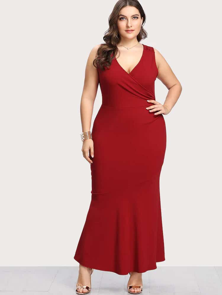 vestidos rojos largos para gorditas