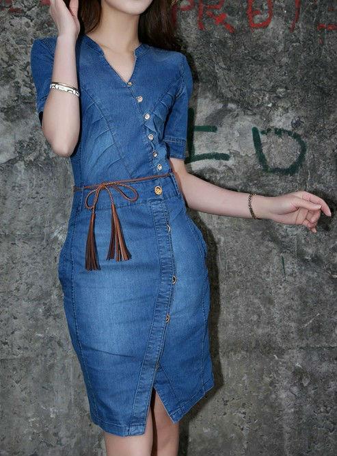 Vestidos en tela de blue jeans