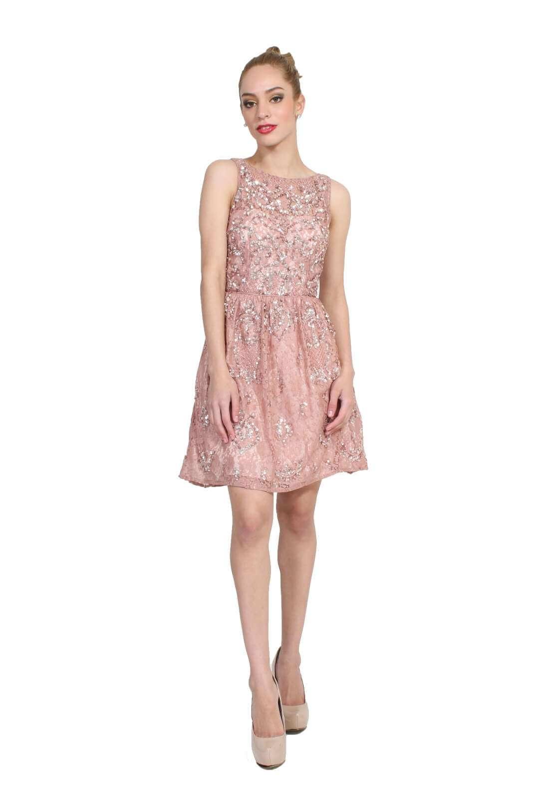 Vestidos rosa palo noche corto
