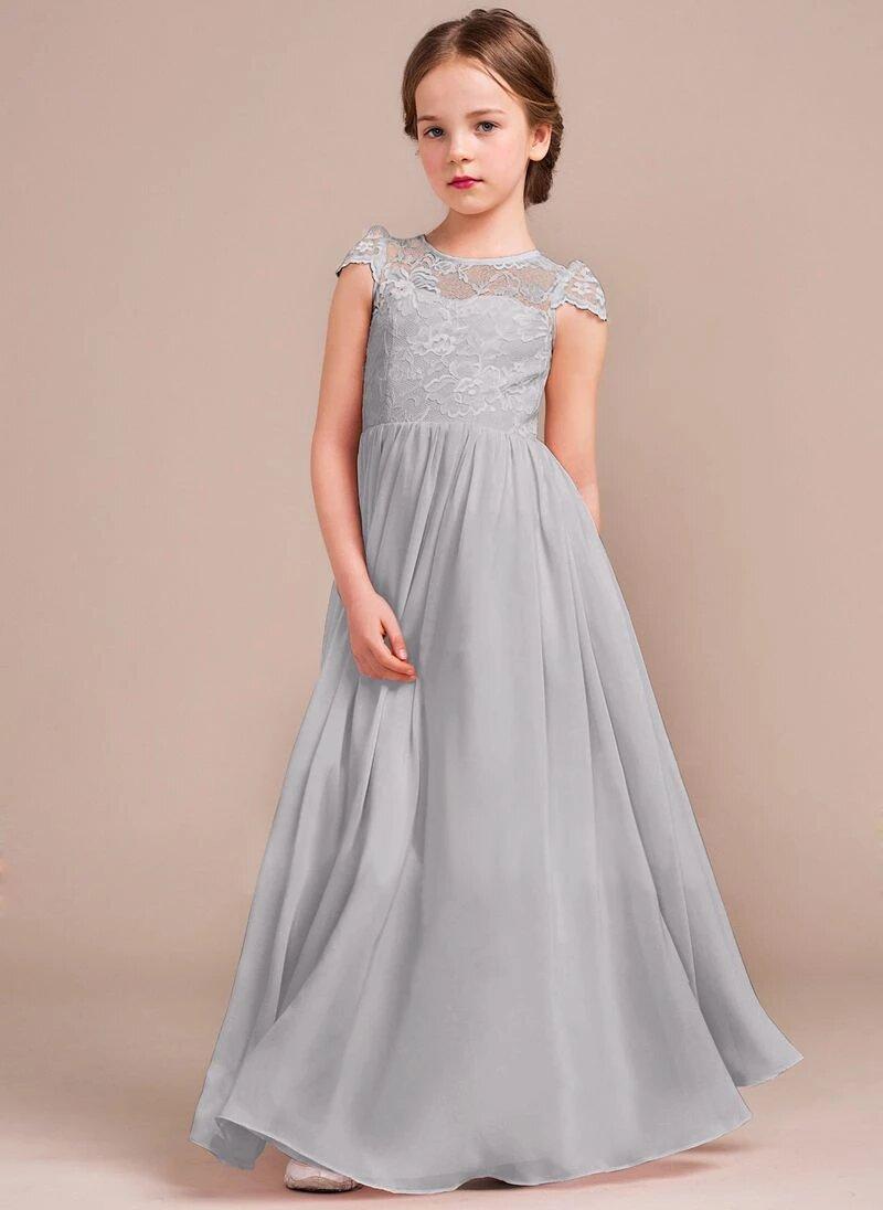 vestido plateado largo niñas elegante