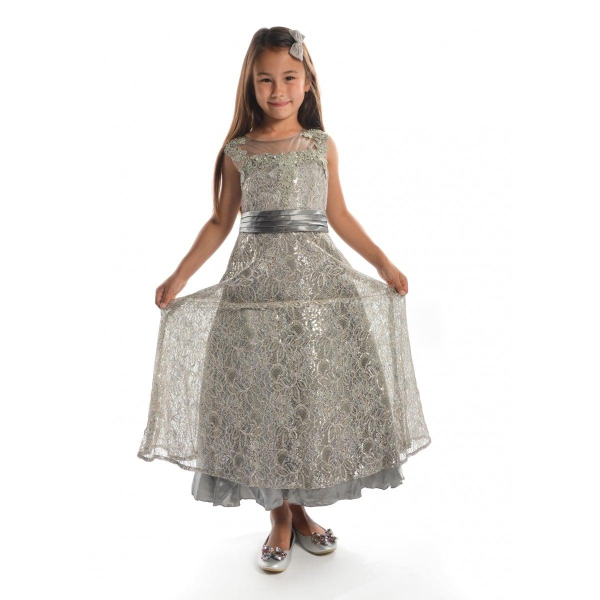 vestido plateado niñas largos bordados