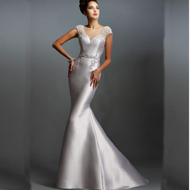 vestido plateado largo boda