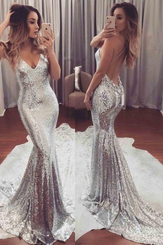 9cd7fa035 Vestidos Plateados Largos ¡Para Una Noche Deslumbrante! - Vestidos Glam
