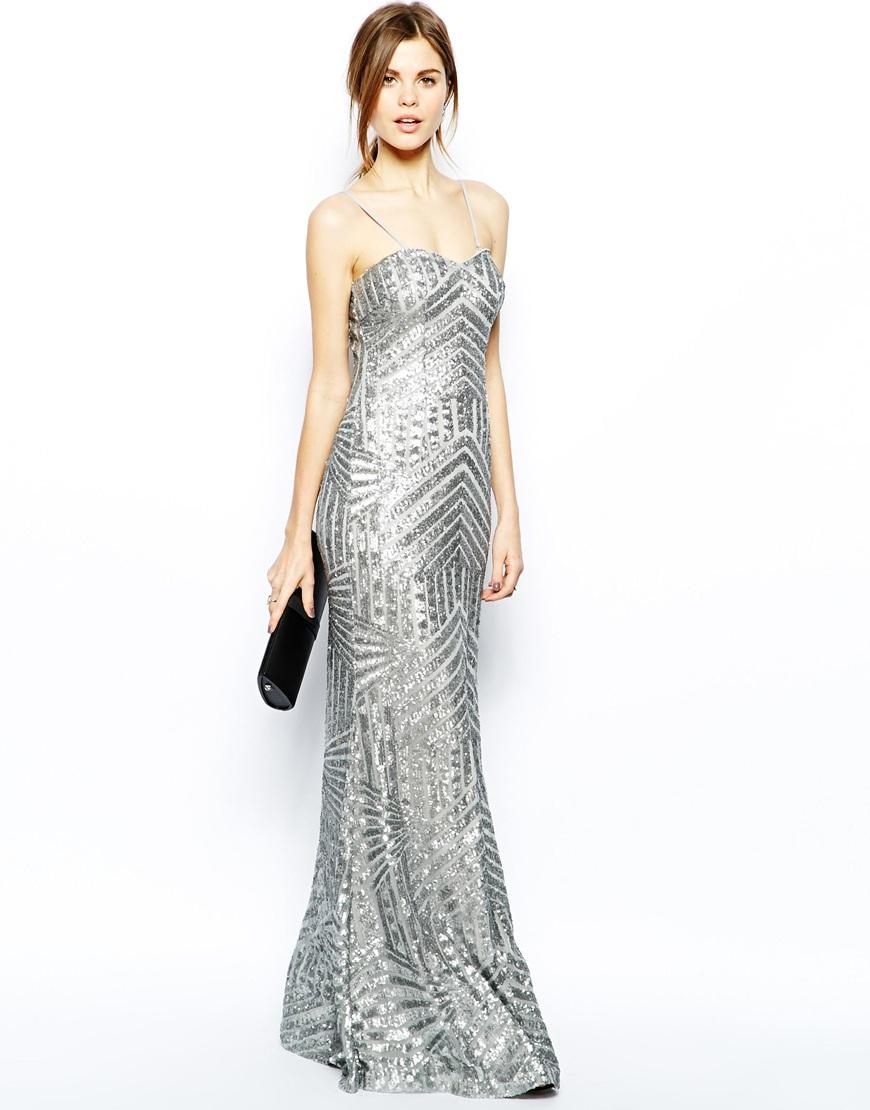 vestido plateado largo juvenil