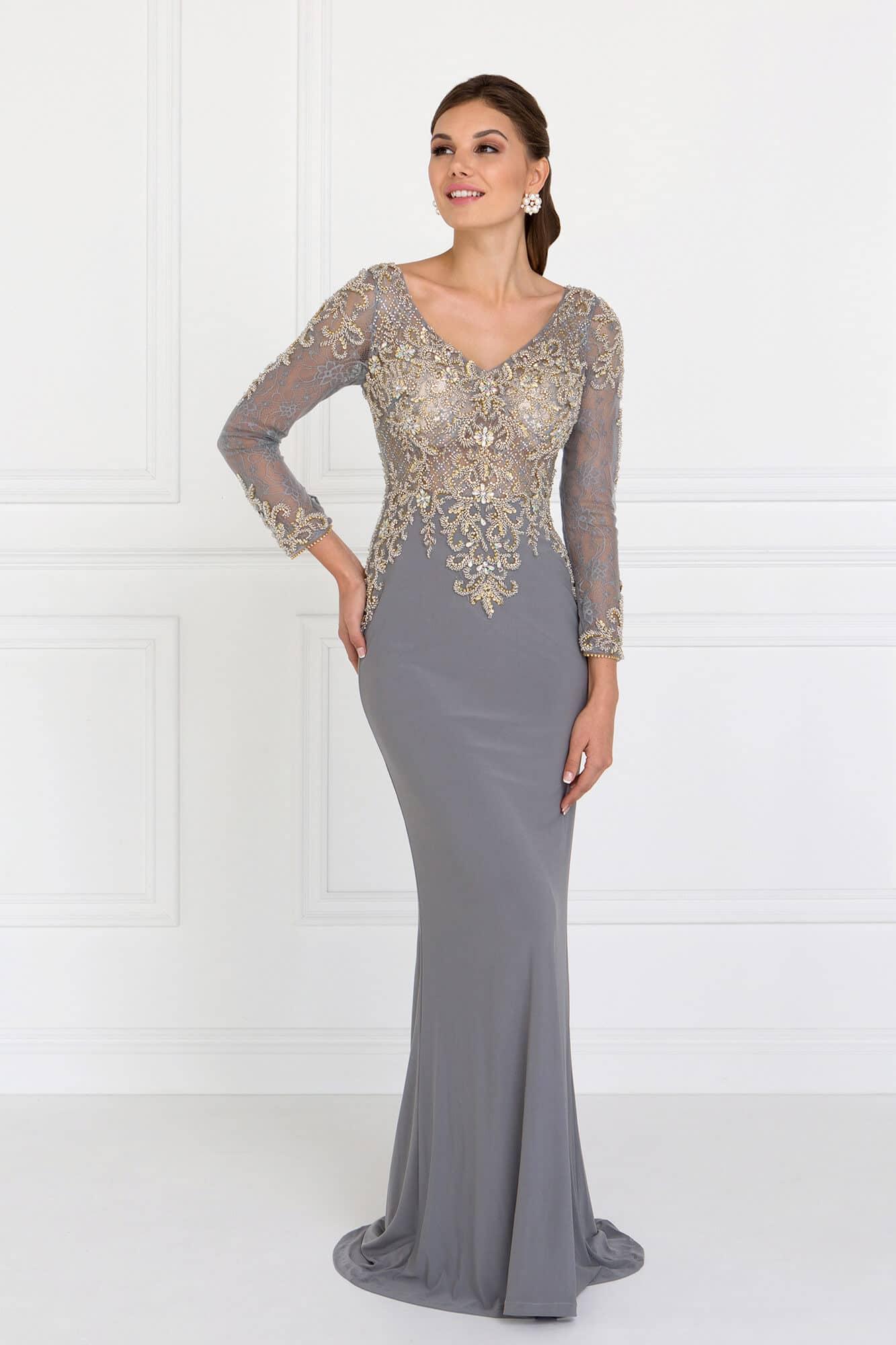 vestidos plateados largos ajustado elegante
