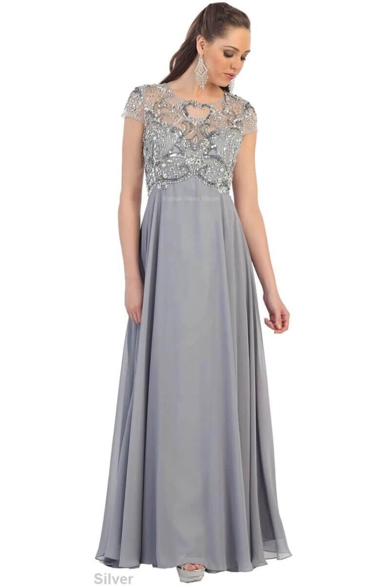 vestidos plateados largos bordado