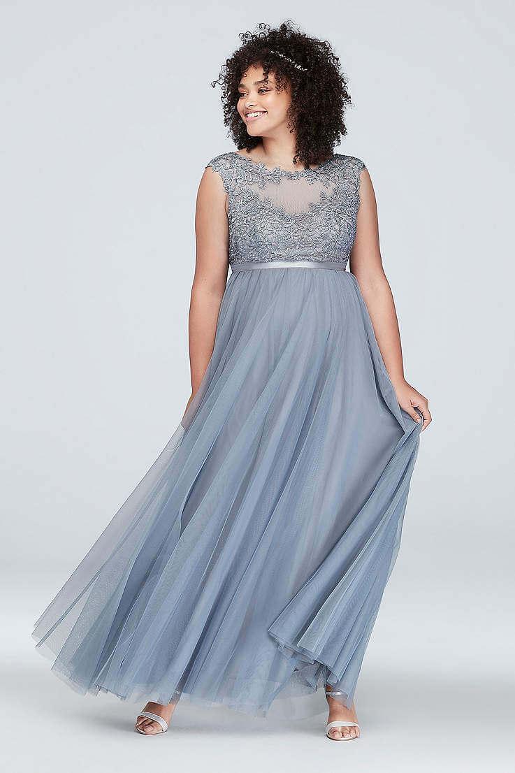 vestidos plateados largos para gorditas bordados