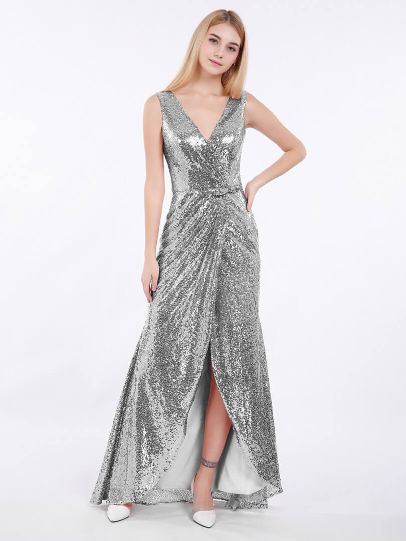 vestidos plateados largos para ninas brilloso