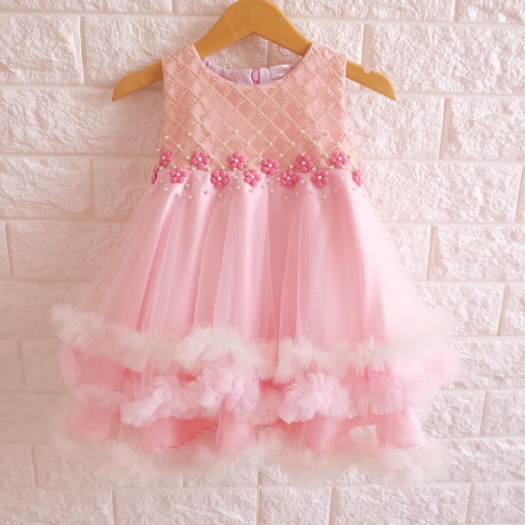 vestidito de navidad rosa para niña
