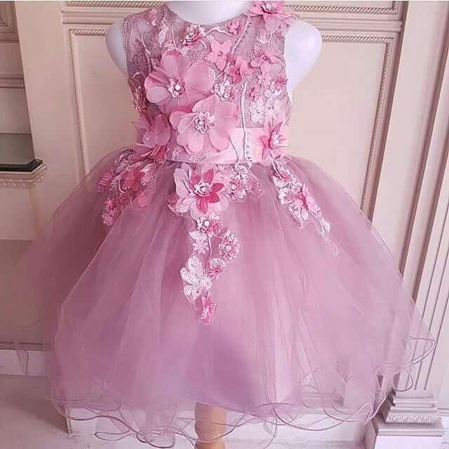 vestido de navidad rosa con flores para niña
