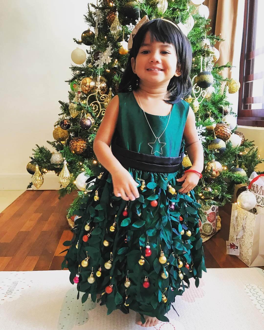vestido de navidad verde para niña