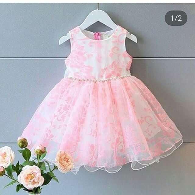 vestido rosa bordado con flores para niñas