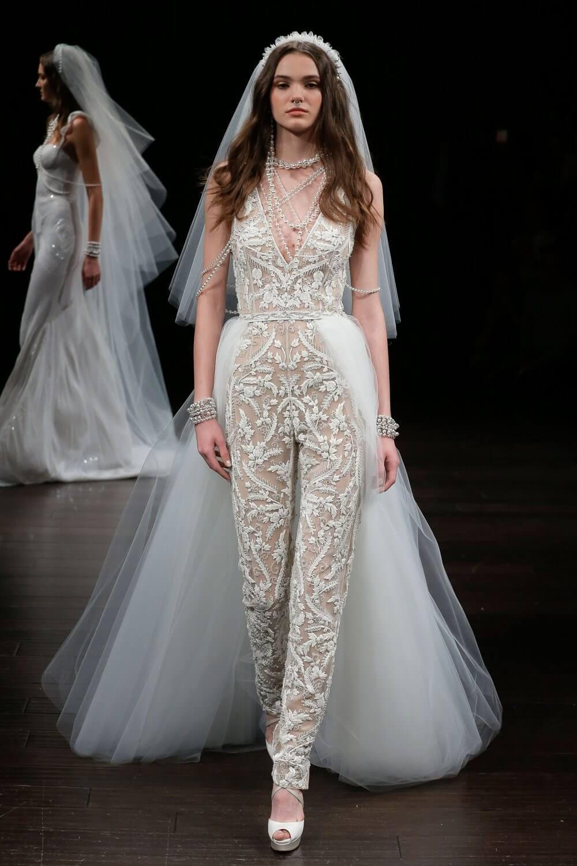 traje de novia con pantalón 2018