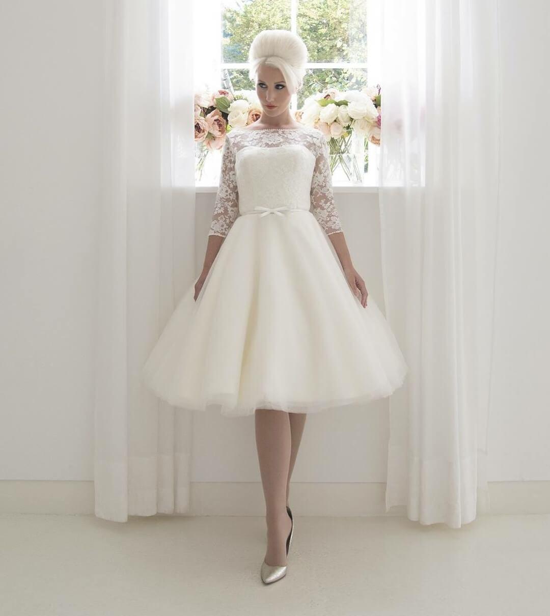 vestido corto de novia 2018