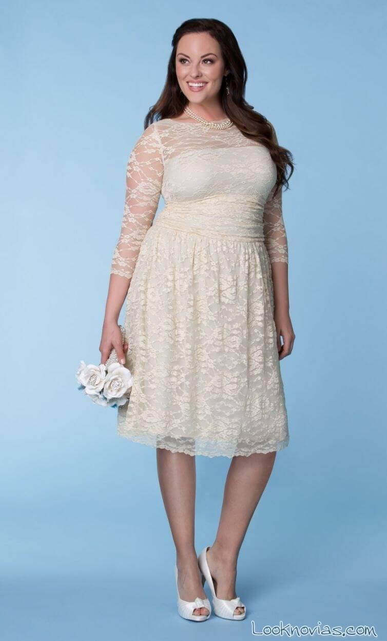 vestido corto de novia gorditas encaje