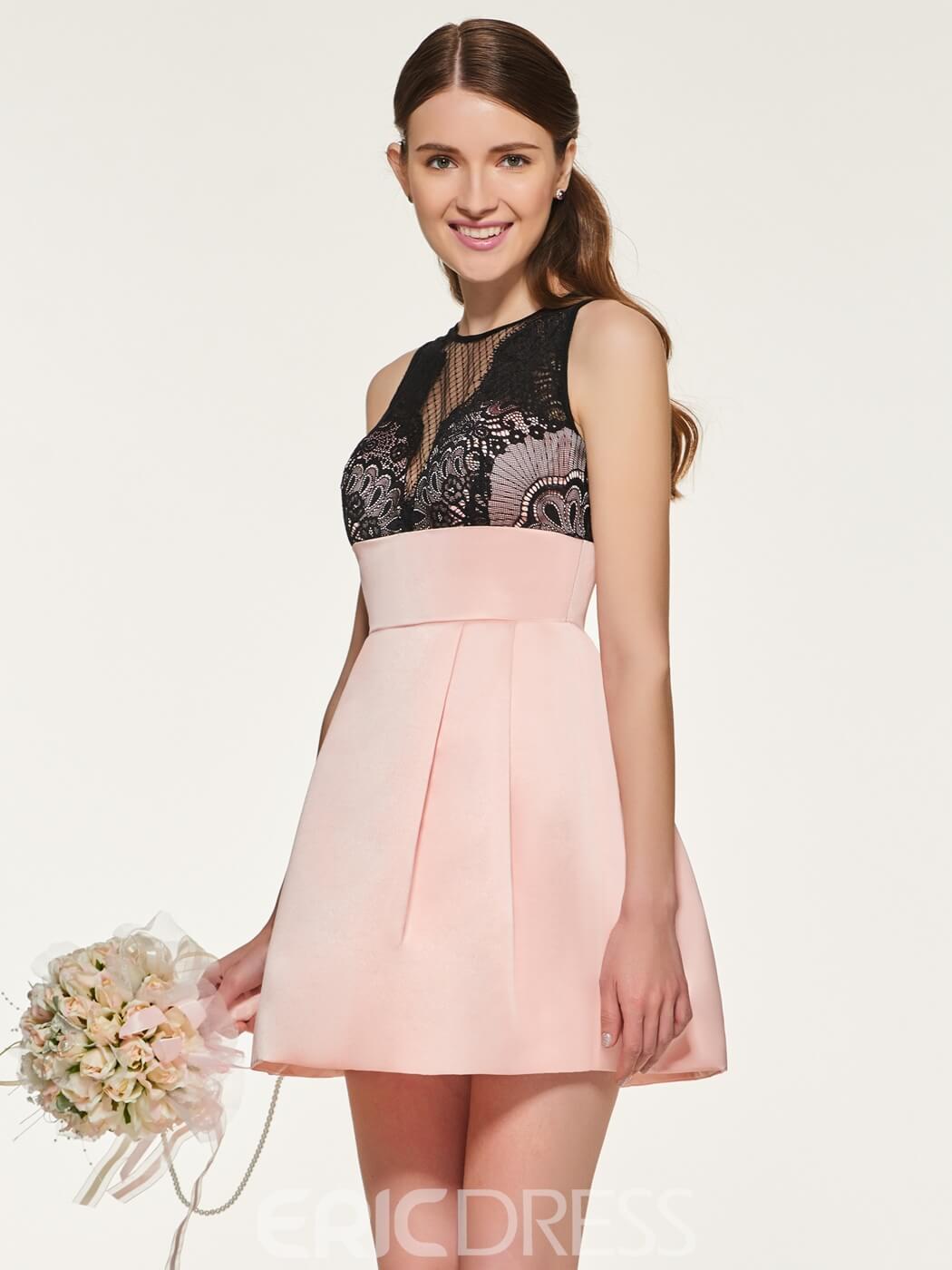 vestido corto rosa para dama de honor