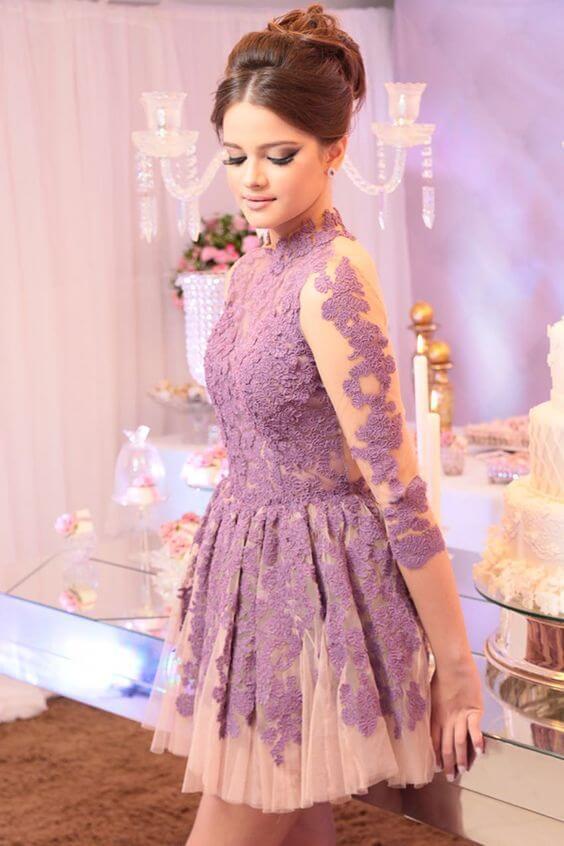 vestido de 15 corto moderno