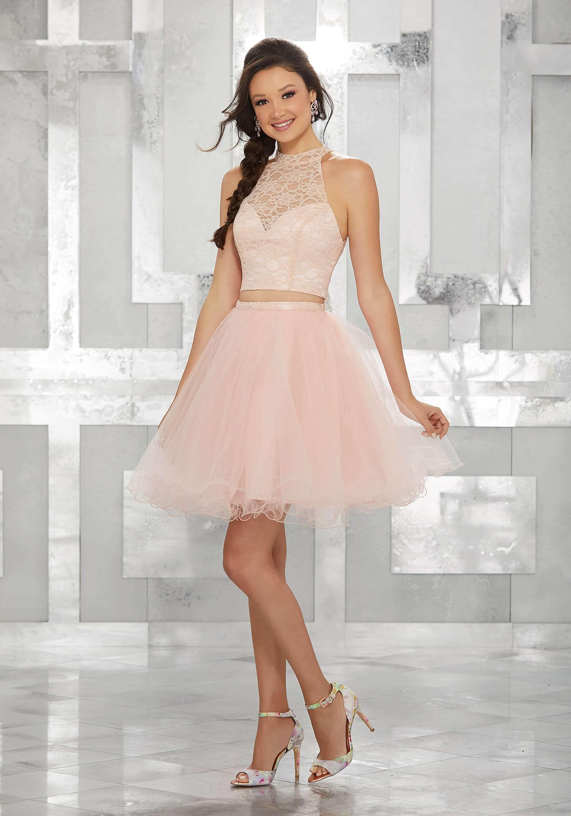 vestido de 15 corto sencillo color palo