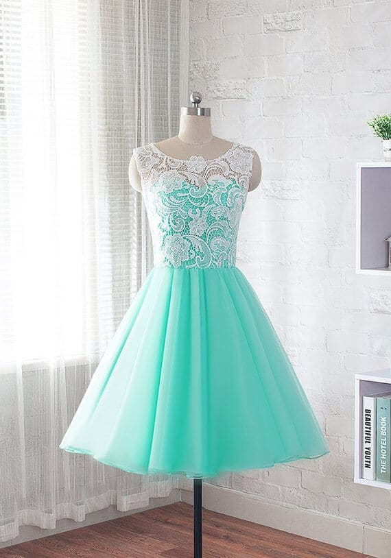 vestido de 15 corto verde agua