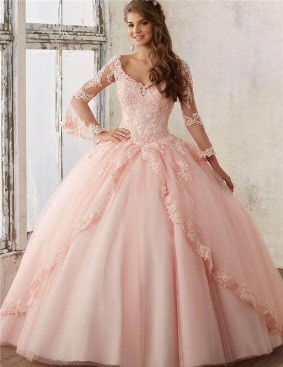 vestido de 15 largo rosa corte princesa