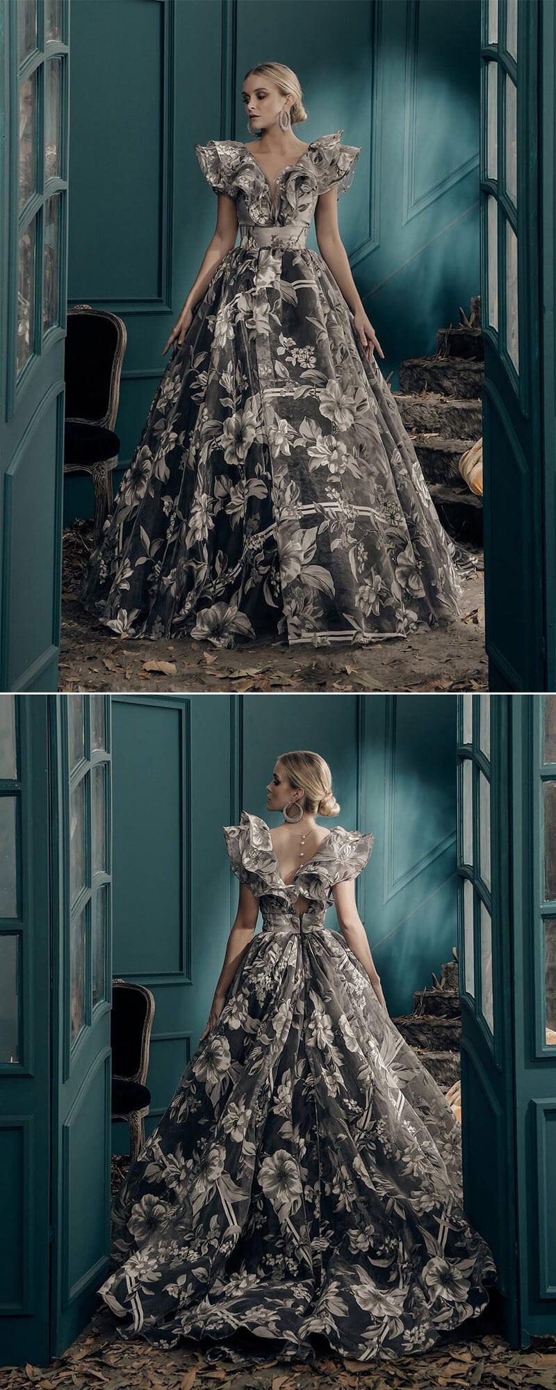 vestido de 15 moderno con flores