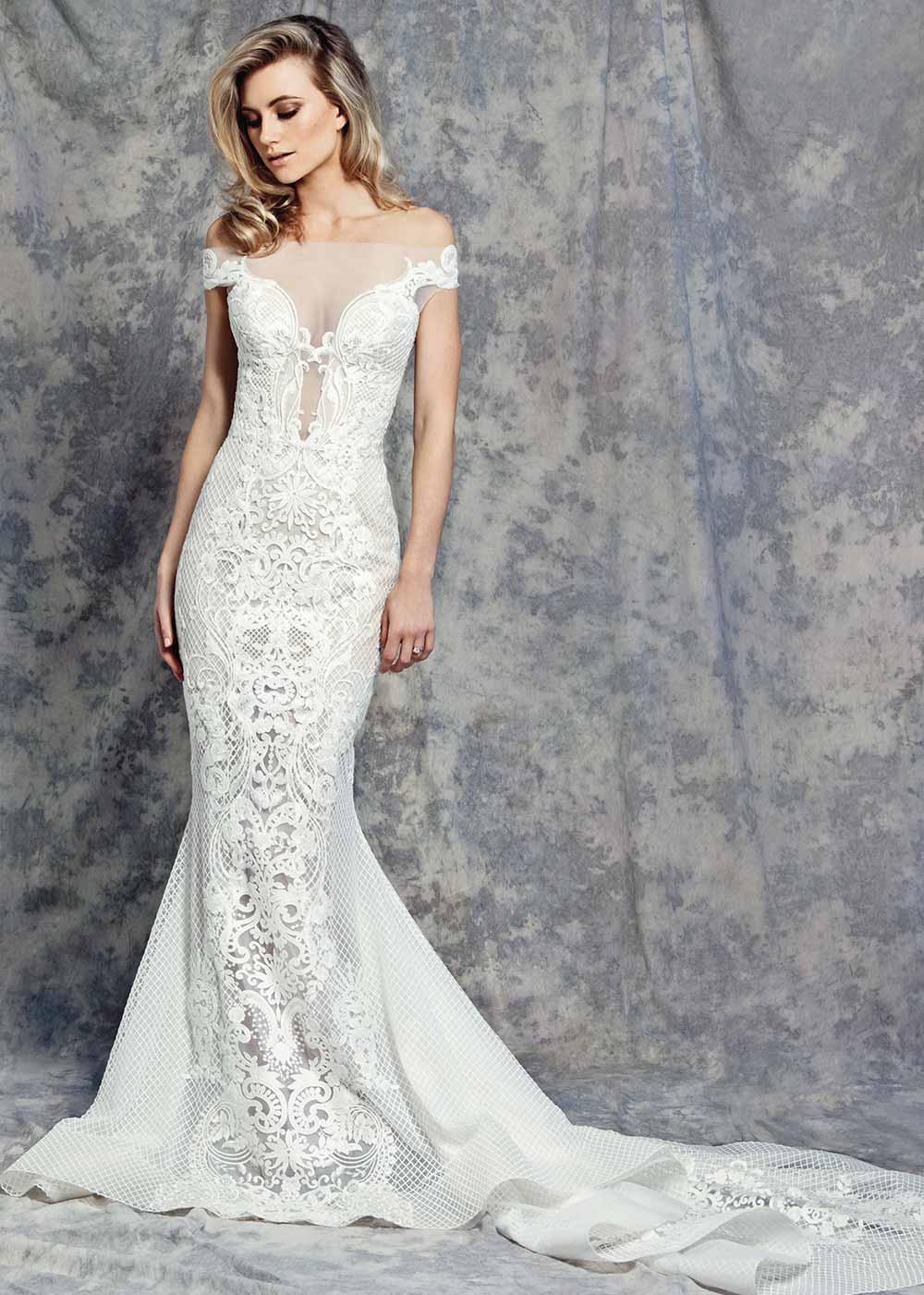 vestido de novia 2018 blanco entallado con encaje