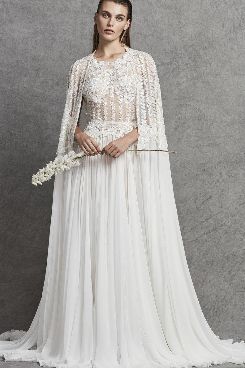 vestido de novia 2018 con capa