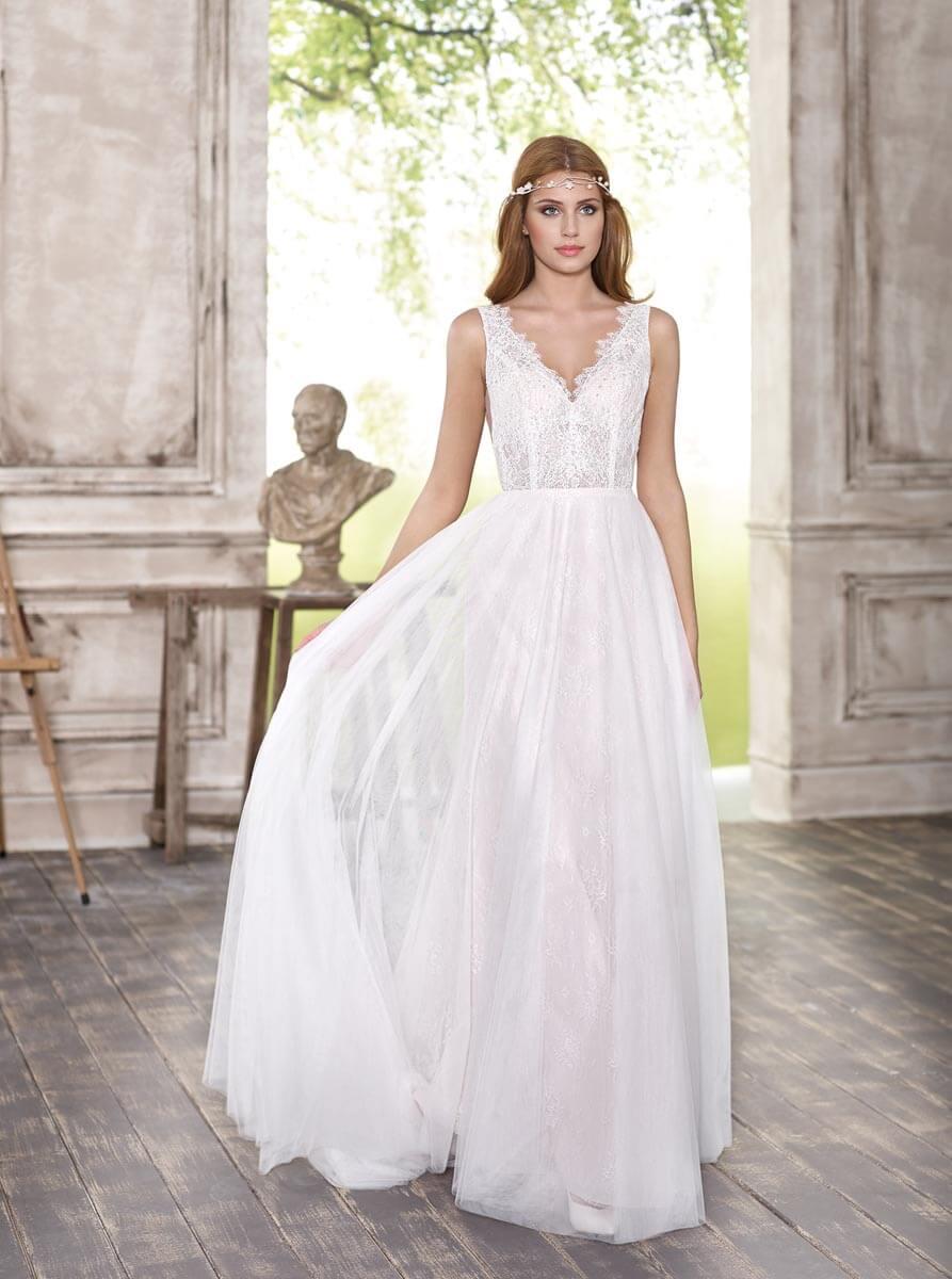 vestido de novia barato cuello en v