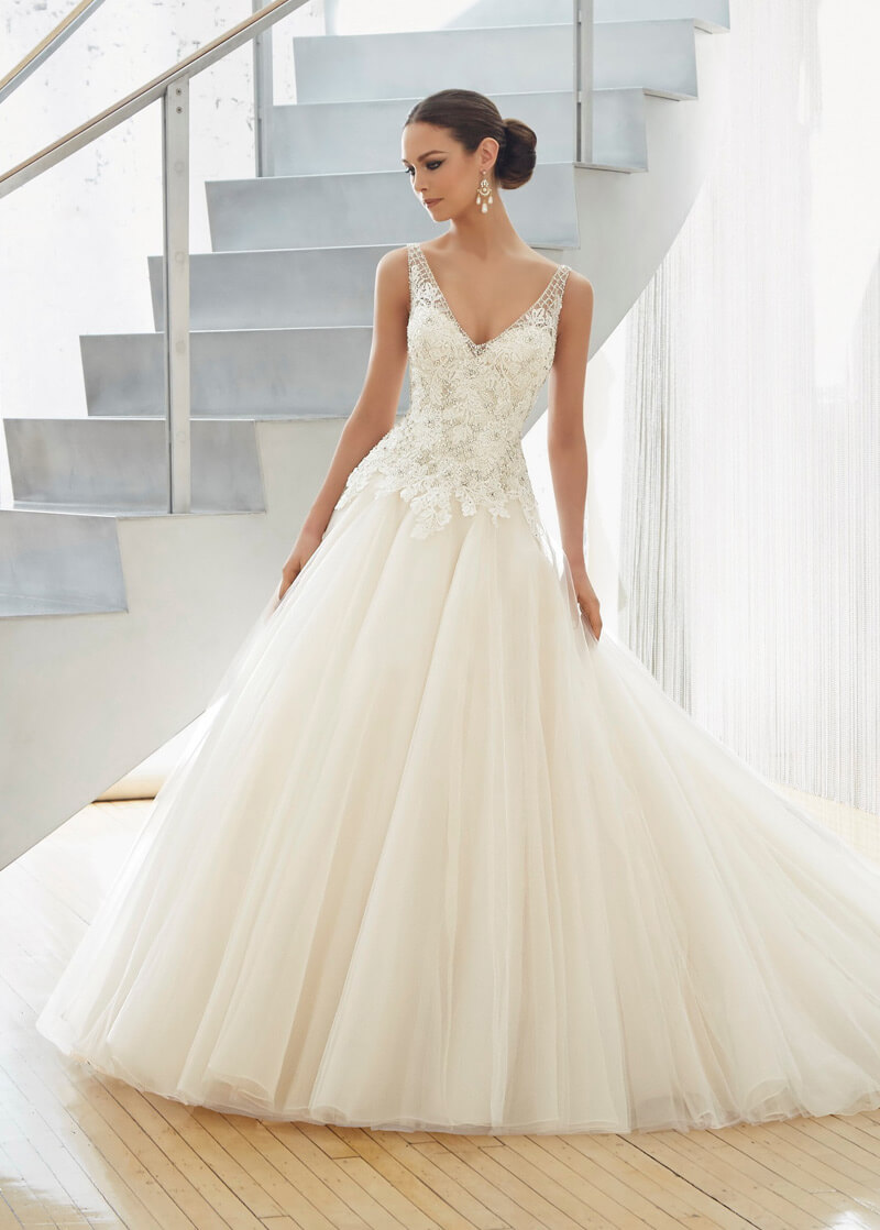 vestido de novia clasico corte princesa