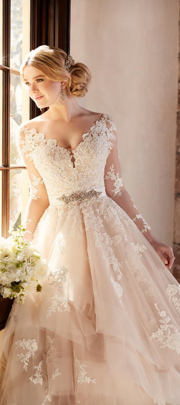 vestido de novia clasico largo encaje