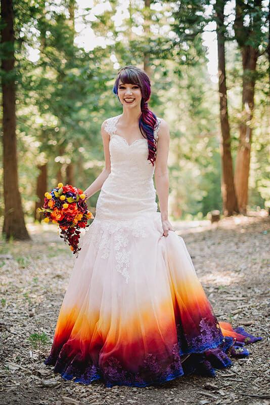 vestido de novia con colores degradados