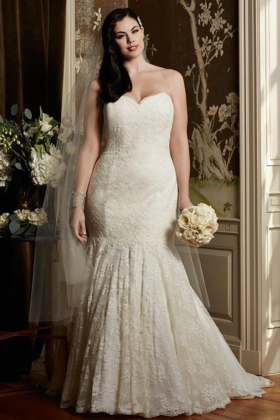 vestido de novia con encaje para gorditas corte sirena