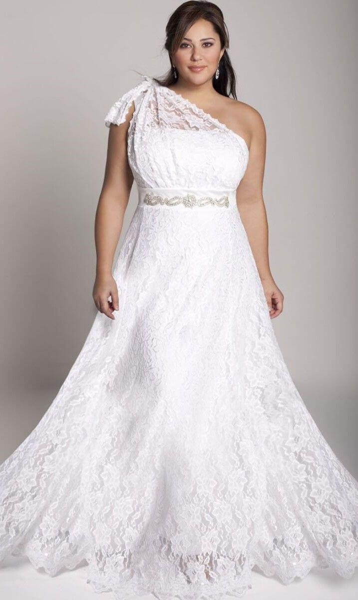 vestido de novia con encaje y cinturon para gorditas