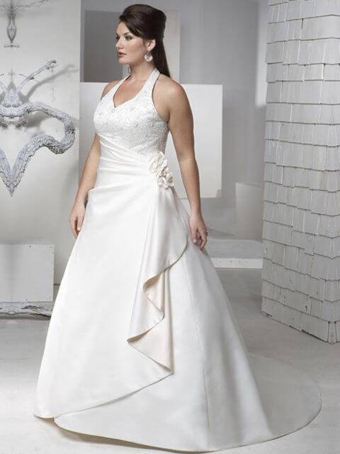 vestido de novia con pliegue para gorditas