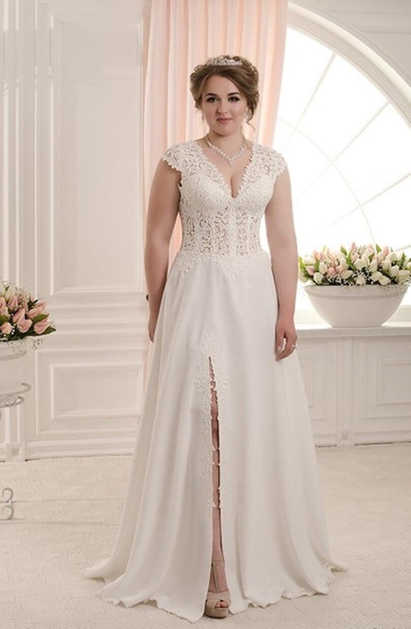vestido de novia con tajo para gorditas