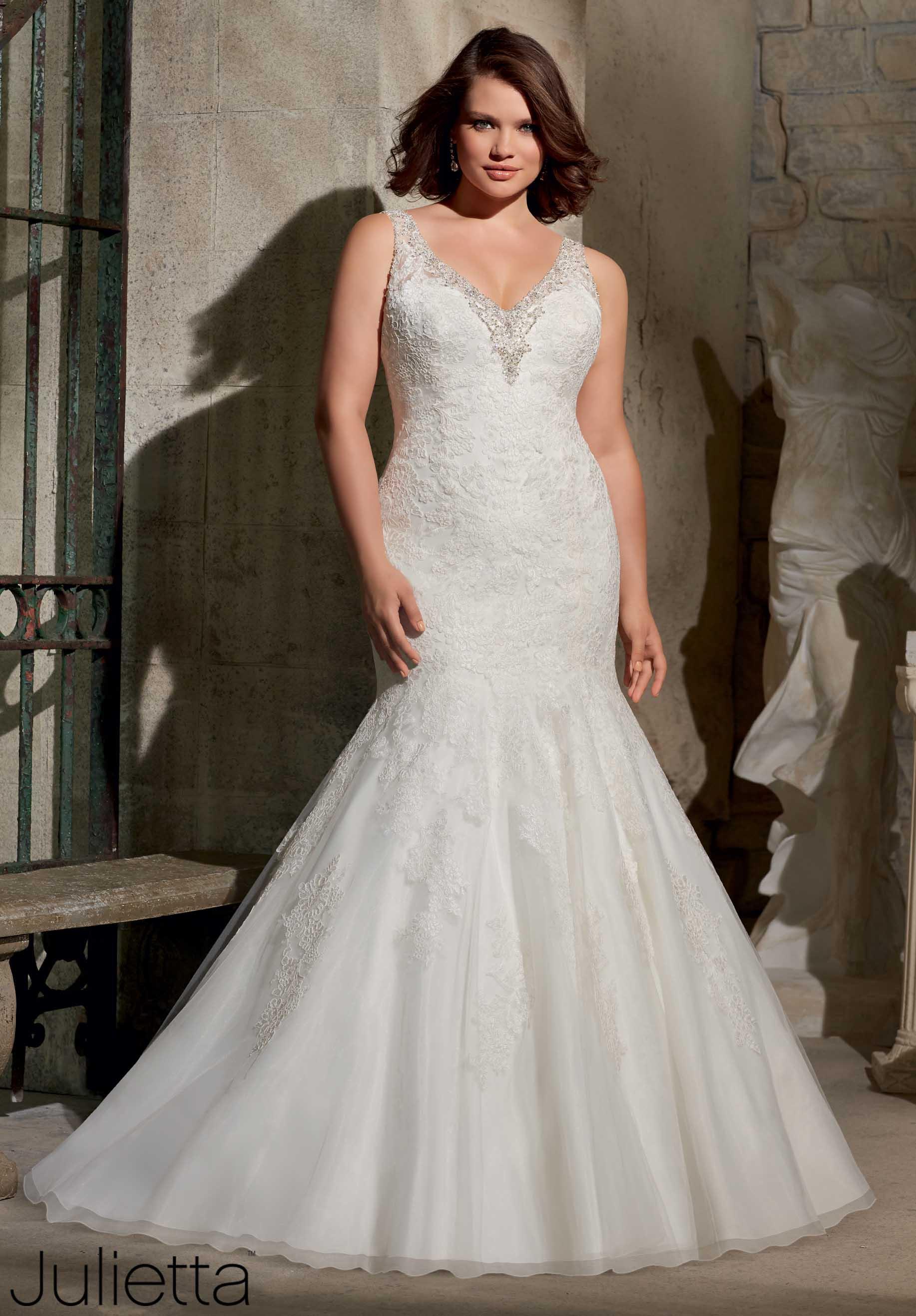 vestido de novia corte sirena con campana para gorditas