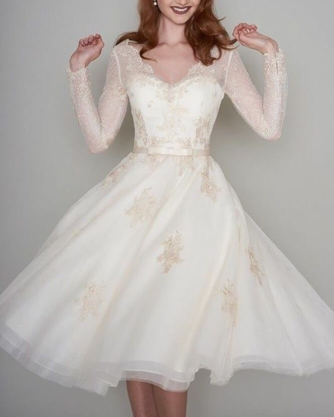 vestido de novia corto 2018 estampado