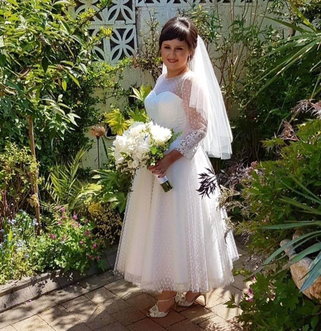 vestido de novia corto clasico gorditas