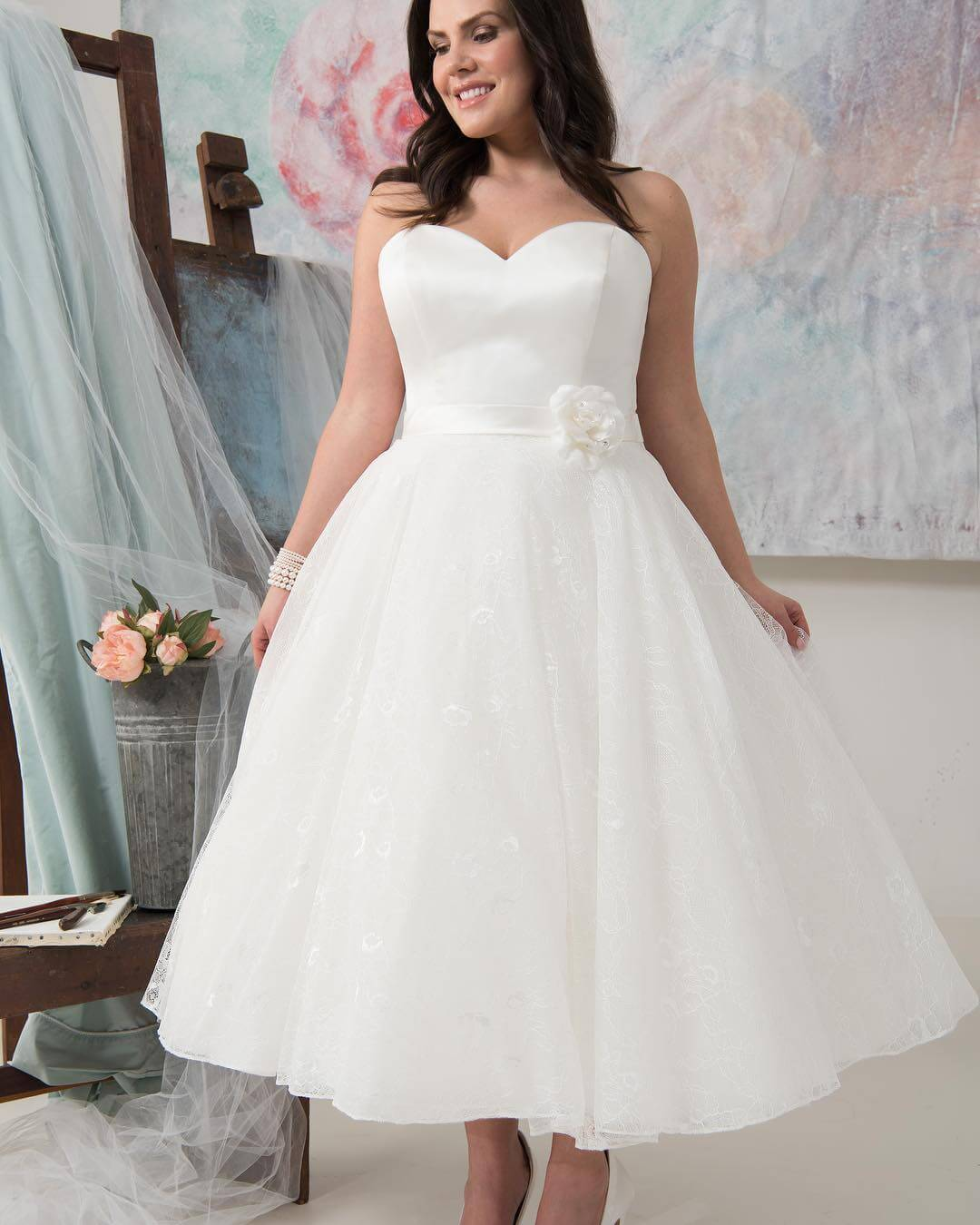 vestido de novia corto con tul para gorditas